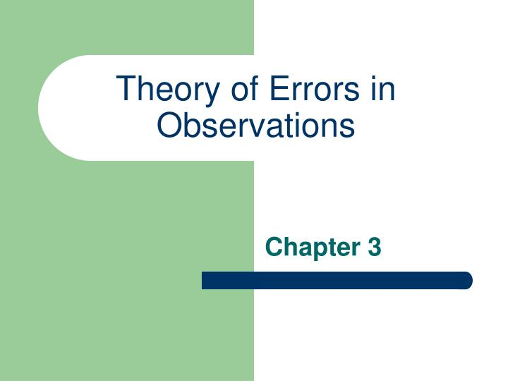 theory of errors in observations n.