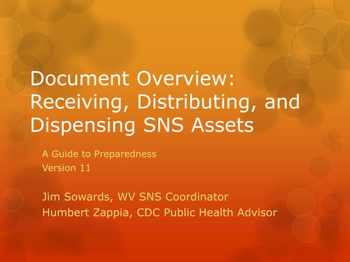 document overview receiving distributing and dispensing sns assets n.