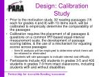 design calibration study