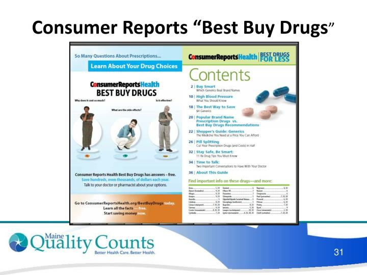 "Consumer Reports ""Best Buy Drugs"
