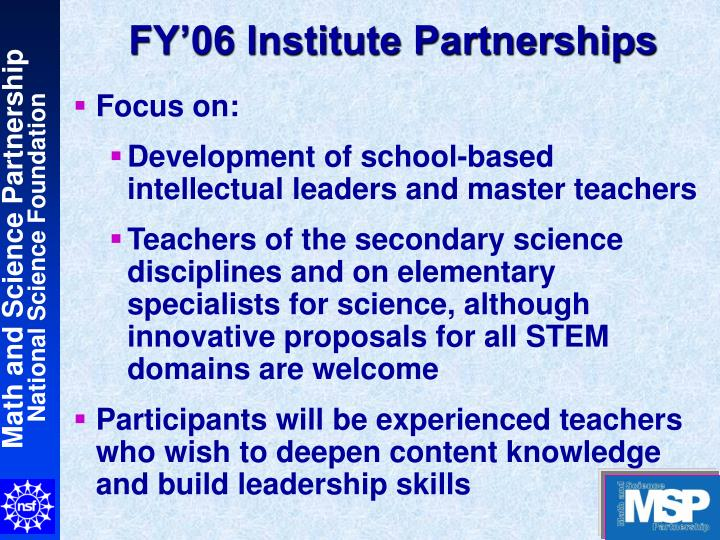 fy 06 institute partnerships n.