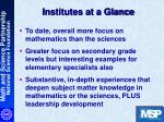 institutes at a glance