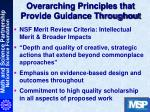 overarching principles that provide guidance throughout