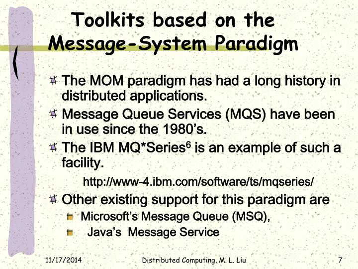 Toolkits based on the Message-System Paradigm