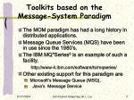 toolkits based on the message system paradigm