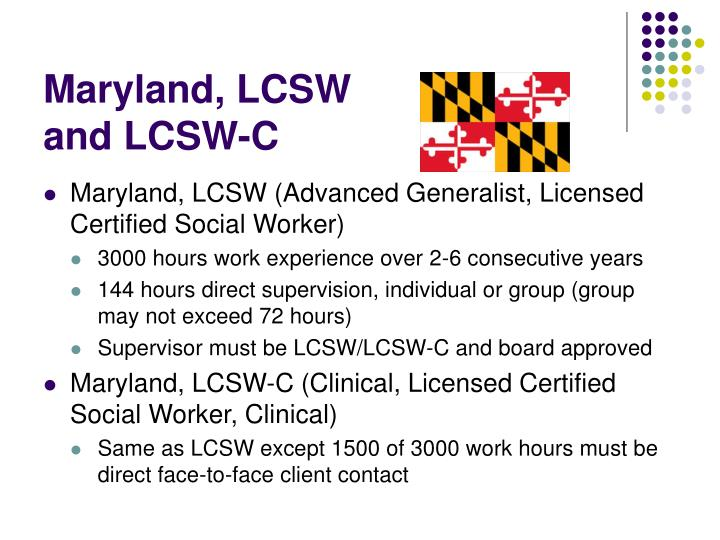 Maryland, LCSW and LCSW-C