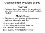 questions from previous exams