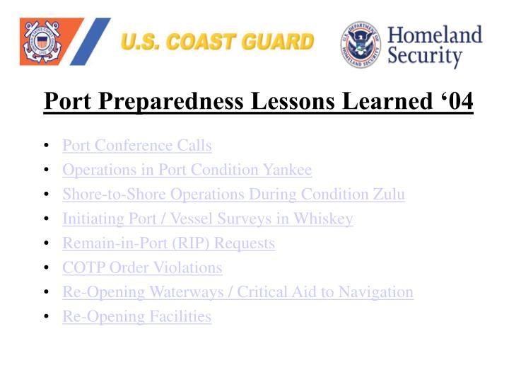 Port Preparedness Lessons Learned '04