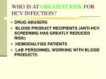who is at greatest risk for hcv infection