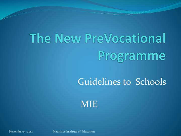 the new prevocational programme n.