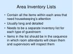 area inventory lists