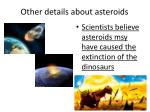other details about asteroids