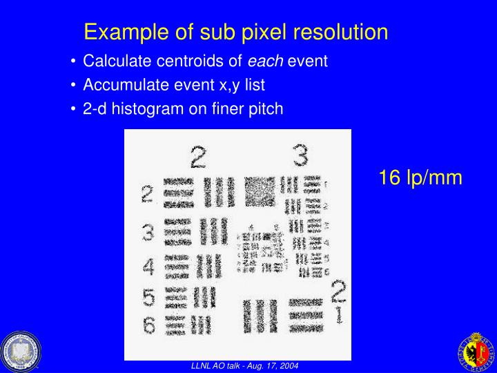 Example of sub pixel resolution