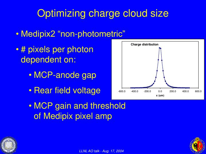 Optimizing charge cloud size