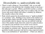 diversifiable vs undiversifiable risk