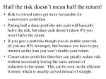 half the risk doesn t mean half the return