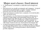major asset classes fixed interest