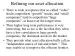 refining our asset allocation