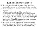 risk and return continued
