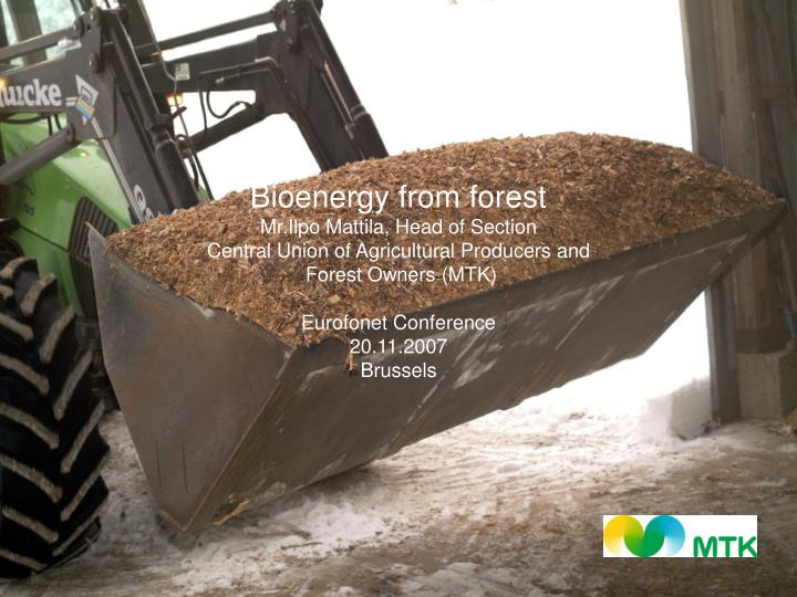 Bioenergy from forest