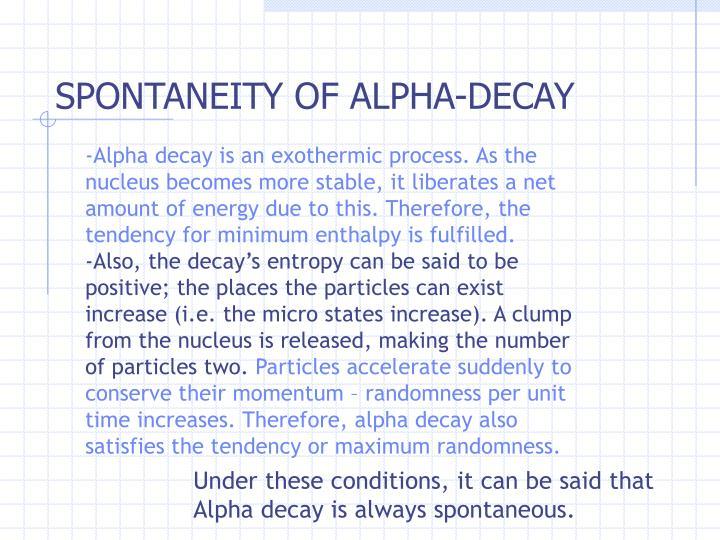 SPONTANEITY OF ALPHA-DECAY