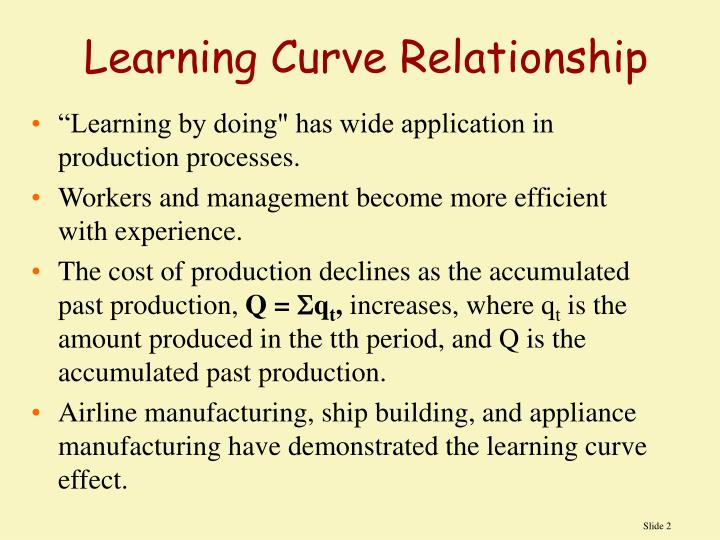 Learning curve relationship