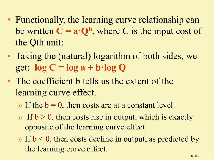 Functionally, the learning curve relationship can be written
