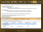 top n cities by sales within top y products by sales1