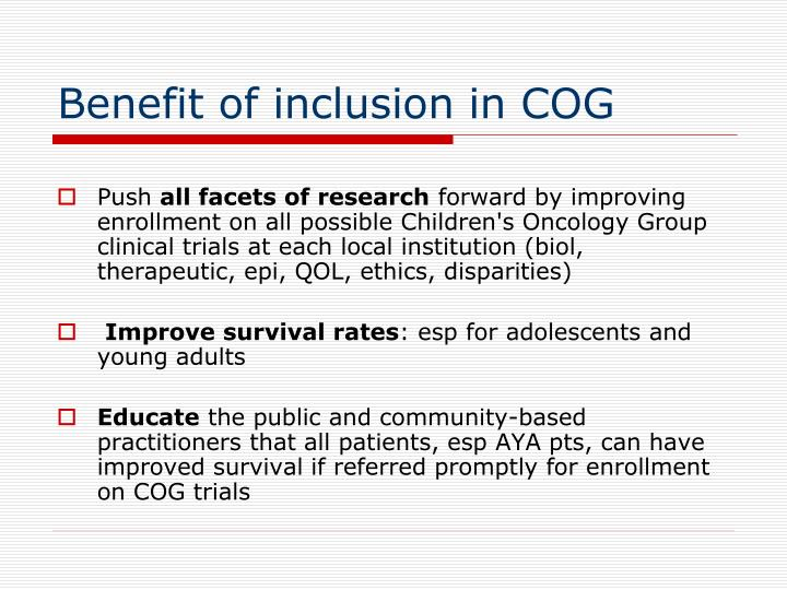 Benefit of inclusion in COG