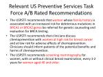 relevant us preventive services task force a b rated recommendations1