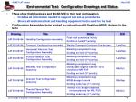 environmental test configuration drawings and status