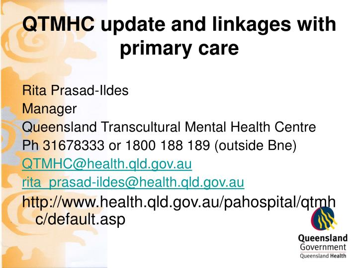 qtmhc update and linkages with primary care n.