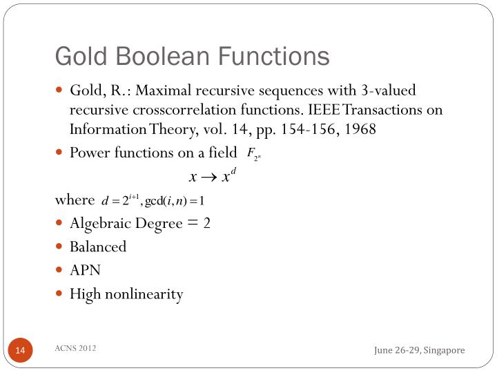 Gold Boolean Functions