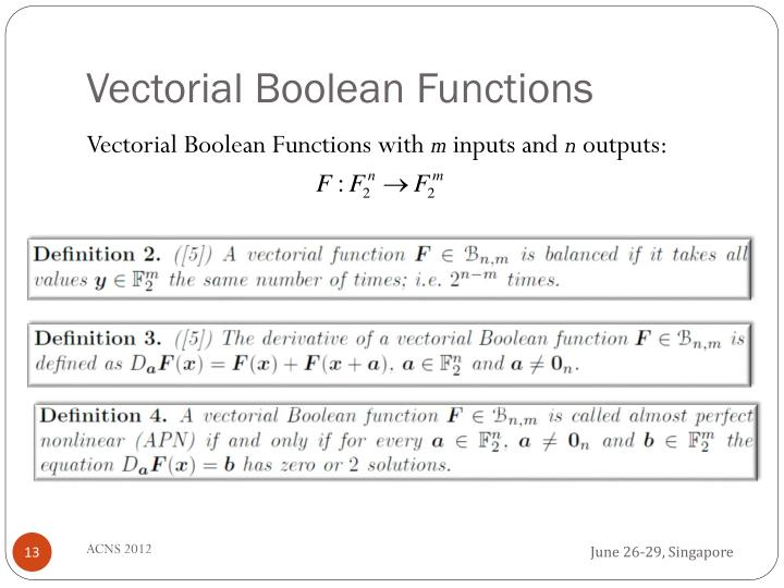 Vectorial Boolean Functions