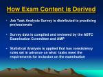 how exam content is derived1