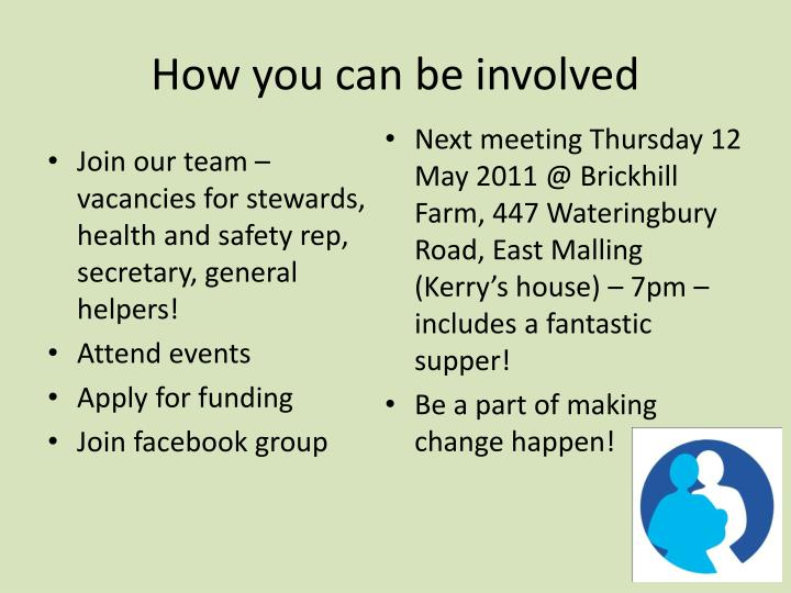 How you can be involved