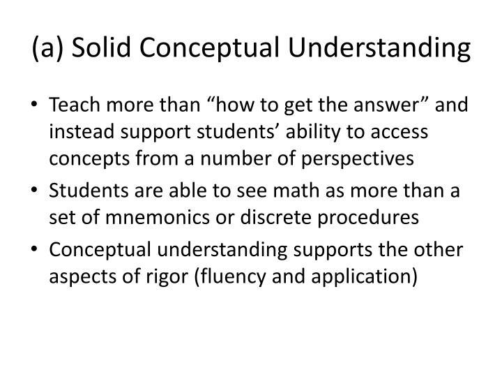 (a) Solid Conceptual Understanding