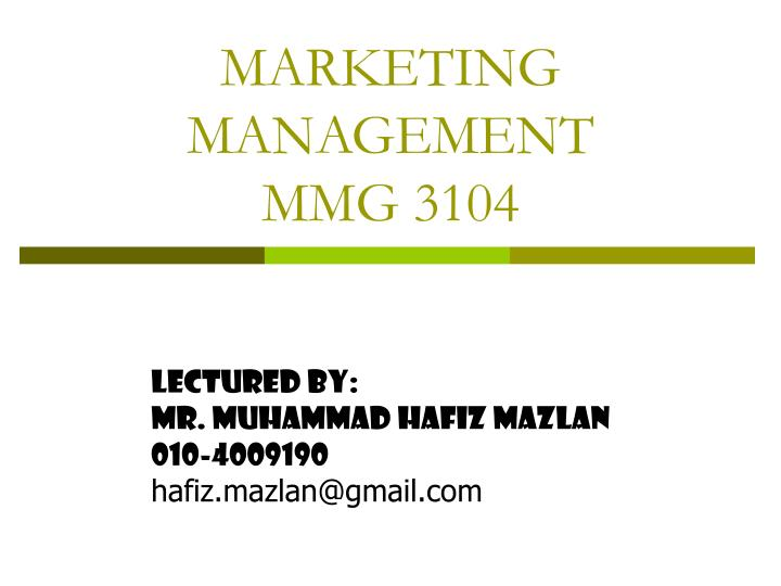 marketing management mmg 3104 n.