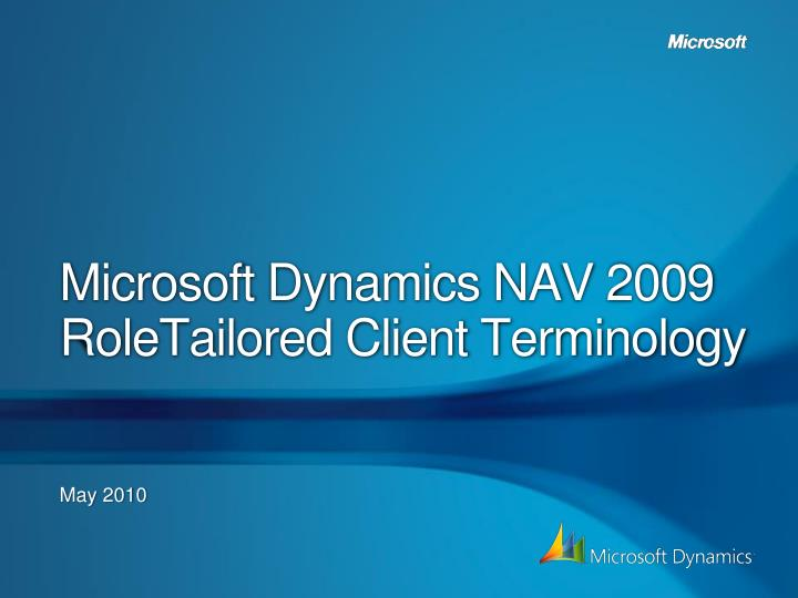 microsoft dynamics nav 2009 roletailored client terminology n.