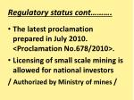 regulatory status cont1
