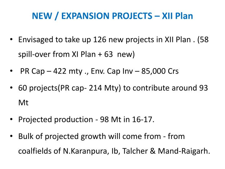 NEW / EXPANSION PROJECTS – XII Plan