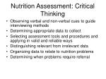 nutrition assessment critical thinking