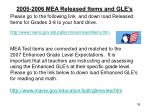 2005 2006 mea released items and gle s