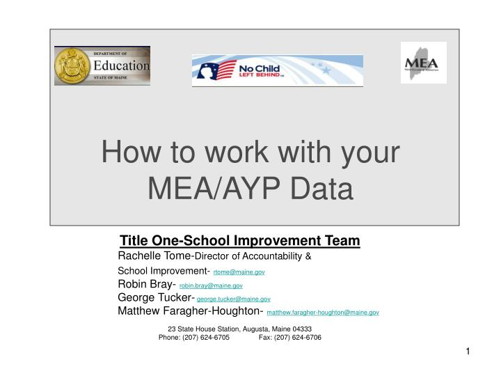 how to work with your mea ayp data n.