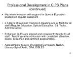 professional development in cips plans continued