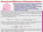 second law efficiency of resistance heaters