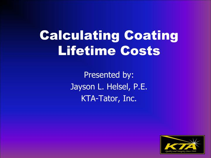 calculating coating lifetime costs n.