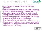 benefits for staff and services