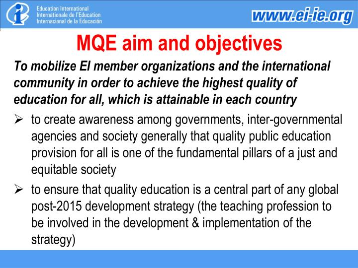 MQE aim and objectives
