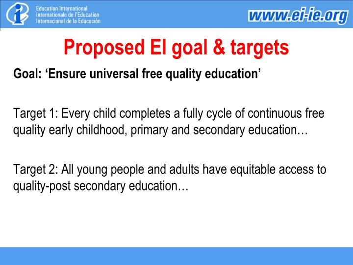 Proposed EI goal & targets